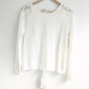 NWT Lauren Conrad Runway Lace and Pearl Sweater
